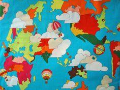 2009-THE-GOOD-EARTH-alexander-henry-POP-ART-fabric-retro-1960s-world-map