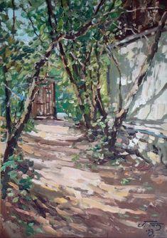 Mājas pagalms pavasarī, Edgars Vinters (1919-2014, Latvia)