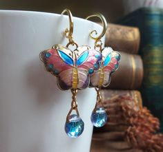 Hey, I found this really awesome Etsy listing at https://www.etsy.com/listing/110183472/cloisonne-earrings-butterfly-earrings