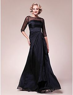 A-line Plus Size / Petite Mother of the Bride Dress Floor-length Half Sleeve Chiffon / Stretch Satin with Beading / Side Draping – USD $ 99.99