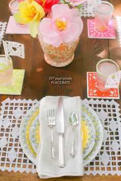 DIY Papel Picado Placemats  Read more - http://www.stylemepretty.com/living/2013/06/21/diy-papel-picado-placemats/