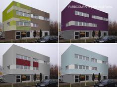 Diese Farbvarianten reichen von einer zweifarbigen Beschichtung bis zur kreativen künstlerischen Farbgebung. Visualisierung unterschiedlicher Farbkonzepte für eine Wohnhaus in Hannover.