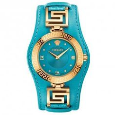 Versace Women's Swiss Diamond Accent V-Signature Turquoise Leather Strap Watch - Watches - Jewelry & Watches - Macy's Lila Gold, Blue Gold, Mode Orange, Versace Jewelry, Pierre Turquoise, Gold Diamond Watches, Do It Yourself Fashion, Luxury Watches, Versace Watches