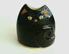 Gato negro Jarrón cerámica hecha a mano inusual buque