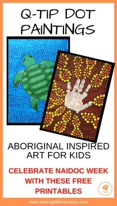 Celebrate NAIDOC week with these q-tip dot painting ideas for toddlers, pre-K and older kids. These free printable art activities will develop fine motor skills all while your children learn about the culture and achievements of Aboriginal and Torres Stra Aboriginal Art For Kids, Aboriginal Education, Aboriginal Dot Painting, Indigenous Education, Painting Activities, Art Activities For Kids, Lessons For Kids, Art Lessons, Naidoc Week Activities