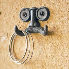 'I moustache you a question' hipster coat hanger / hook