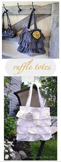 amazing ruffle purses by Jeanne Oliver Designs via Funky Junk Interiors at: http://funkyjunkinteriors.blogspot.com/2011/08/my-500-jeanne-oliver-windfall-and.html