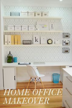 Home office makeover- love so many elements- chair, black baskets, framed verse,  ikea drawers. ..