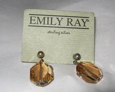 Emily Ray sterling champagne Swarovski crystal dangle pierced post earrings #EmilyRay #DropDangle