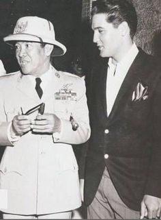"Elvis and Achmed Sukarno of Indonesia on set of ""Blue Hawaii."""
