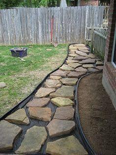 Instructions to make a rock walkway in backyard