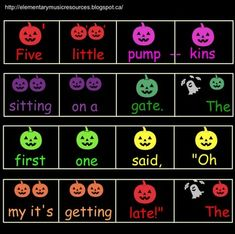 """**BEST SELLER Looking for something fun to do during the Halloween season? This activity is just for you! After singing """"Five Little Pumpkins"""" using the page with visual cues, move on to playing the song as a class using Boomwhackers! The melody is notated with pumpkins that correspond to the colours of the Boomwhackers."""