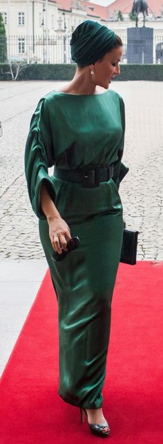 Sheikha Mozah wearing a custom couture design by Ralph & Russo during her recent visit to Poland