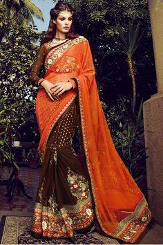 Orange Designer Party Wear Saree Online From Hdbazaar.