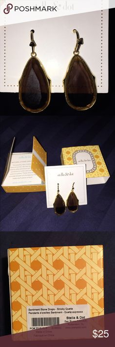 "Stella & Dot Sentiment Stone Drop Smoky Quartz Earring pair NWT in original box. Removed only once to try on. Gold with brown smokey quartz stones. 1 3/4 "" drop. Make an offer or bundle! Stella & Dot Jewelry Earrings"