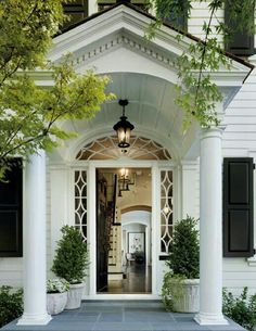 Love a grand entrance - front exterior facade. columns, windows, moldings my home entrance! Very welcoming Style At Home, Front Entrances, Classic House, Home Fashion, Architecture Details, House Architecture, Revival Architecture, Mediterranean Architecture, My Dream Home