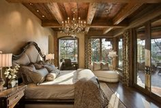 A chandelier adds class and elegance to a bedroom regardless of the style