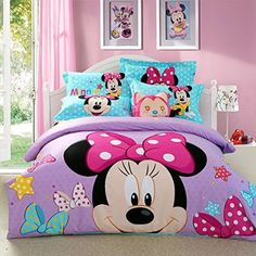 USpiece Cartoon Children Disney Mickey Mouse G Printed Bed Quilt Cover Bedding Set Duvet Cover King Kids Bedroom Designs, Cute Bedroom Ideas, Toddler Rooms, Baby Boy Rooms, Draps Design, Mickey Mouse Bedroom, Disney Princess Room, Designer Bed Sheets, Unicorn Bed Set
