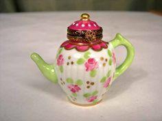 Limoges hand-painted floral teapot keepsake box
