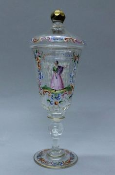 Lobmeyr Colorful Enamel Blown Glass Pokal H: 8 Detailed Enamel Of Young Woman On Facet-cutbody. Antique Glass, Antique Items, Crystal Vase, White Enamel, Blown Glass, Czech Glass, Tea Set, Art Decor, Glass Art