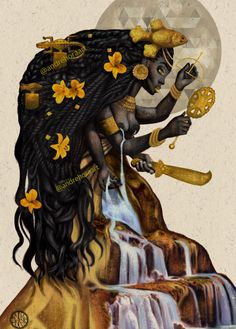 Oshun is the Orisa of many things, most notably freshwater, joy, sensuality, and sex magic (along with the Orisa Oya). Black Girl Art, Black Women Art, Art Girl, African Mythology, African Goddess, Oshun Goddess, Goddess Art, Orishas Yoruba, Yoruba Religion