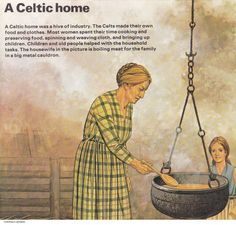 A Housewife Cooking in a Celtic Home, circa 500 B.C. (Peter Connolly/Celts/user: Aethon)