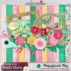 Magnificent May digital scrapbooking kit from Designs by Shelly Marie.This birthstone Collection's 5th kit is inspired by the birthstone for May, the gorgeous emerald and Lilly of the valley the flower of May. This kit is extremely versatile and perfect for any lovely memory you'd like to scrap on your layout.