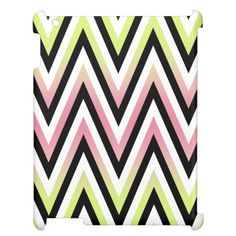 Chic Pastel Pink Lime Green Chevron Zigzag Pattern Cover For The iPad