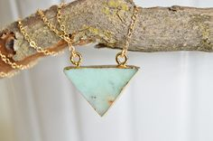 Small Triangle Gold Electroplated Double Bail Pendant-Jade-Chrysoprase-Heart Chakra-Dainty Necklace-Gold Filled 14k by RisingPhoenixGems on Etsy https://www.etsy.com/listing/504184876/small-triangle-gold-electroplated-double