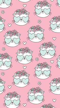 Gift wrapper Cat Pattern Wallpaper, Flamingo Wallpaper, Cat Wallpaper, Kawaii Wallpaper, Cute Wallpaper Backgrounds, Pretty Wallpapers, Animal Wallpaper, Screen Wallpaper, Iphone Wallpaper