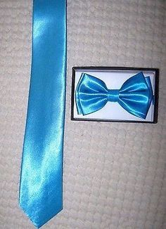 Solid French Blue Neck tie & French Blue Adjustable Bow Tie Combo Set! New!