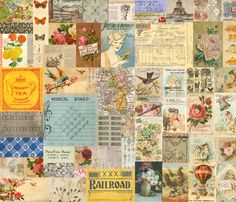 Antique Vintage Crazy Quilt Postcard Ephemera Collage fabric by jodielee on Spoonflower - custom fabric
