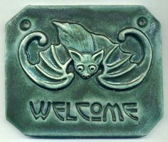 Craftsman style Chinese Bat Welcome Tile in by RavenstoneTiles, $39.00