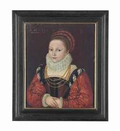 """Cornelis Ketel, Elizabeth Smythe aged 7, dated 1573  (presumably mistranscribed from '1579' per Christie's).  One of the set of portraits of the family of Thomas """"Customer"""" Smythe by Ketel."""