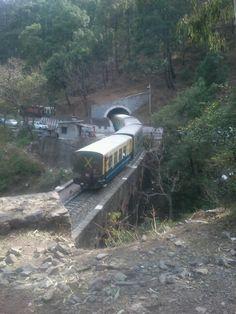 Kalka-Shimla train passing thru a tunnel