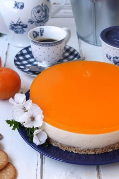 Tangerine cheesecake (without oven) - Desserts City Sweet Desserts, Cheesecakes, No Bake Cake, Cake Recipes, Delish, Oven, Deserts, Brunch, Food And Drink