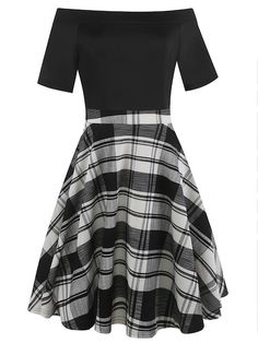 a0bc4b009d Oxiuly Plaid Print Fit and Flare Bardot Dress -SHEIN(SHEINSIDE) Bardot Dress ,