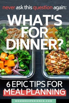 """Never ask """"What's for dinner? Get my TOP 6 epic meal planning tips! Meal Planning Calendar, Meal Planning Board, Meal Planner, Healthy Family Dinners, Easy Meals For Kids, Clean Eating Results, Kids Meal Plan, Breakfast For Dinner, Management Tips"""