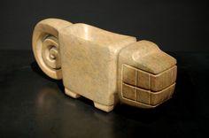 Feline Mortar - Chorrera-Valdivia Culture - Ecuador 1100 - 300 BC Epidote Bearing Alabaster- William Siegal Gallery