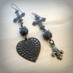 Black Heart Earrings Black Cross Earrings by pink80sgirl on Etsy