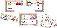 This is a set of 35 addition 3 piece puzzles, all within 10. Each puzzle contains an addition equation, the sum and a pictorial representation of the equation. This is a great activity for use when introducing the concept of addition. It also works well to improve speed with recall of basic addition sums and can be used as a whole class, or  as a small group or individually as a part of maths centres.I hope you find this product useful.Thanks for your support.