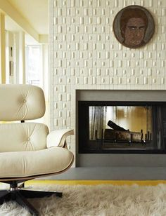 textured tile fireplace surround and white Eames chair. design by Joseph De Leo Fireplace Tile Surround, Home Fireplace, Fireplace Remodel, Fireplace Surrounds, Fireplace Design, Fireplaces, Tiled Fireplace, Dwell On Design, Be Design