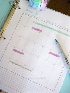 2013 Binder or Planner Calendar  Aqua and by CleanMamaPrintables, $3.00