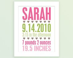 New Baby Birth Announcement..would be cute in a frame in a baby's room