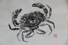 ROCK CRAB original GYOTAKU - traditional Japanese fish art by dowaito
