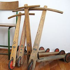 Traditional children's scooter, if would only find one at the thriftstore ♥ Antique Toys, Vintage Toys, Retro Vintage, Wooden Scooter, Kids Scooter, Good Old Times, Wood Toys, Sweet Memories, Classic Toys