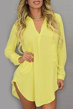 Stylish Turn-Down Collar Solid Color Loose-Fitting Long Sleeve Dress For WomenCasual Dresses   RoseGal.com