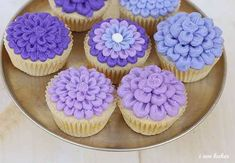 Purple flower cupcakes--I especially love the middle one.  In case I chicken out on the Rapunzel cake!