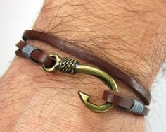 Fish Hook Bracelet in Brown LeatherBeige by ZEcollection on Etsy