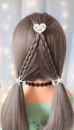 Braided double ponytail hairstyle idea - All For Hairstyles Ponytail Hairstyles Tutorial, Bun Hairstyles For Long Hair, Little Girl Hairstyles, Braided Hairstyles, Hair Up Styles, Medium Hair Styles, Hair Tutorials For Medium Hair, Double Ponytail, Curls For Long Hair